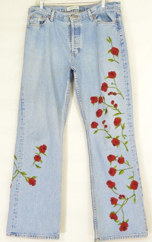 Gap jeans 35? x 32 boot high waist beaded floral button fly 100% cotton waist 38