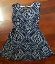 Childrens Place Girls Dress Blue Paisley Short Sleeve Cotton Size M 7/8 - $6.92