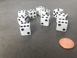 Set of 10 Six Sided D6 16mm Standard Dice Die - White with Black Pips - $7.16