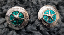 """Silver Star Concho Turquoise enamel accent NEW by Action Company 1 1/2"""" Set of 4 image 1"""
