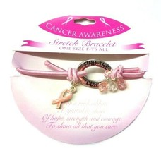 Find The Cure Pink Ribbon Bracelet Stretch Beaded Breast Cancer Awarenes... - $9.67