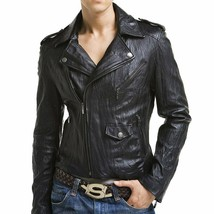 Mens Leather Jacket Stylish Genuine Lambskin Motorcycle Bomber Biker MJ 158 - $149.47