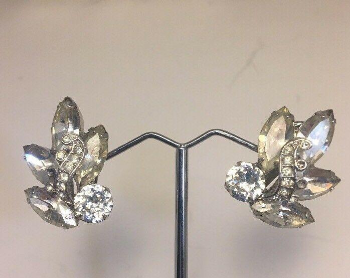 Vintage Weiss Rhinestone Cuff Bracelet And Clip Earrings Marriage Silvertone