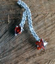 Sterling silver flower pendant, silver red flower pendant (697) - $22.00
