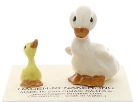 Hagen-Renaker Miniature Ceramic Bird Figurine Duck Papa and Baby Duckling Set image 2