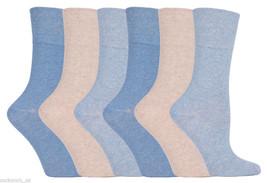 6 Pairs Womens Sockshop Cotton Gentle Grip Socks 4-8 uk,37-42 eu, GG73 Blue - $11.01