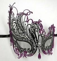 Black Purple Swan Rhinestone Laser Cut Venetian Mask Masquerade Metal Fi... - $15.28 CAD