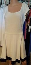American Living Women's Cream Black Sheath Fit & Flare Cap-sleeve Dress - $26.99