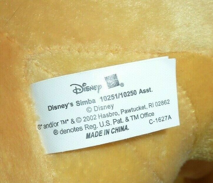 "22"" SIMBA THE LION KING Jumbo 2002 HASBRO Disney Large Plush Stuffed Animal Toy"