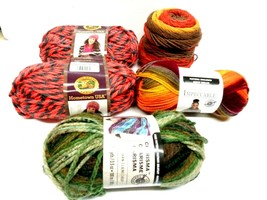5 Reams Yarn - 2 LION BRAND - 2  Impeccable -  Falling Leaves & 1 Charis... - $11.87