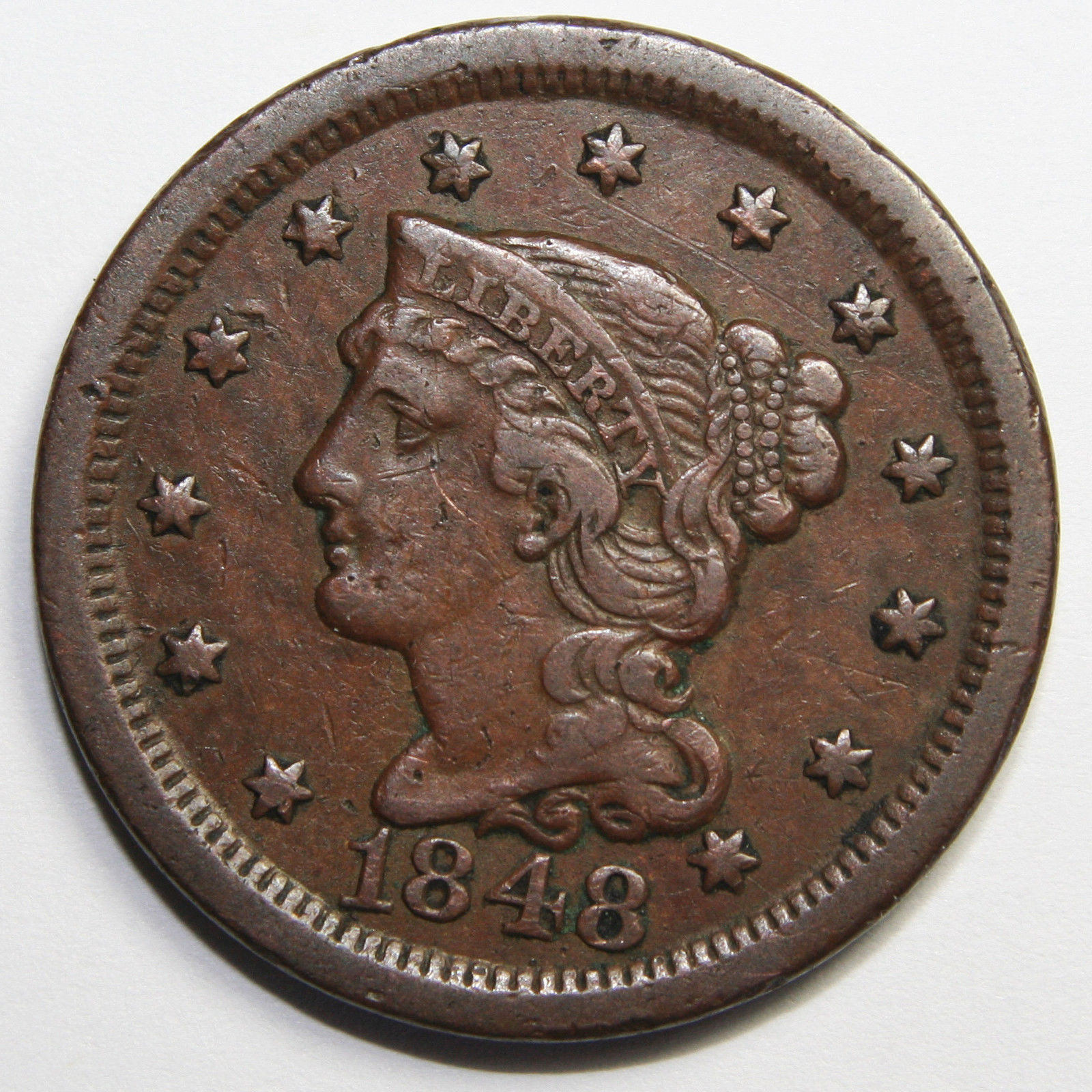 1848 Large Cent Liberty Braided Hair Head Coin Lot # MZ 4097