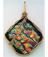 Orange Green Dichroic Glass Bronze Wire Wrap Pendant 2 - $10.27