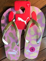 NWT PUMA WOMEN'S PINEAPPLE PINK/GOLD FLIP FLOP SANDALS SIZES: 4, 6 & 7 - $17.99