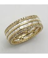 14k Yellow Gold 4.53 Ct Simulated Diamond Wedding Band Anniversary Ring ... - $416.99