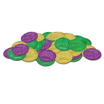 Mardi Gras 100 Plastic Crown Coins Doubloons Pirate - $12.78 CAD