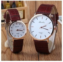 Round Bar Numeral White Couple Watches Leather Luxury Wristwatch image 1