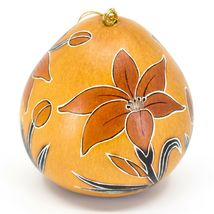 Handcrafted Carved Gourd Art Lily Lilies Flower Floral Ornament Made in Peru image 3