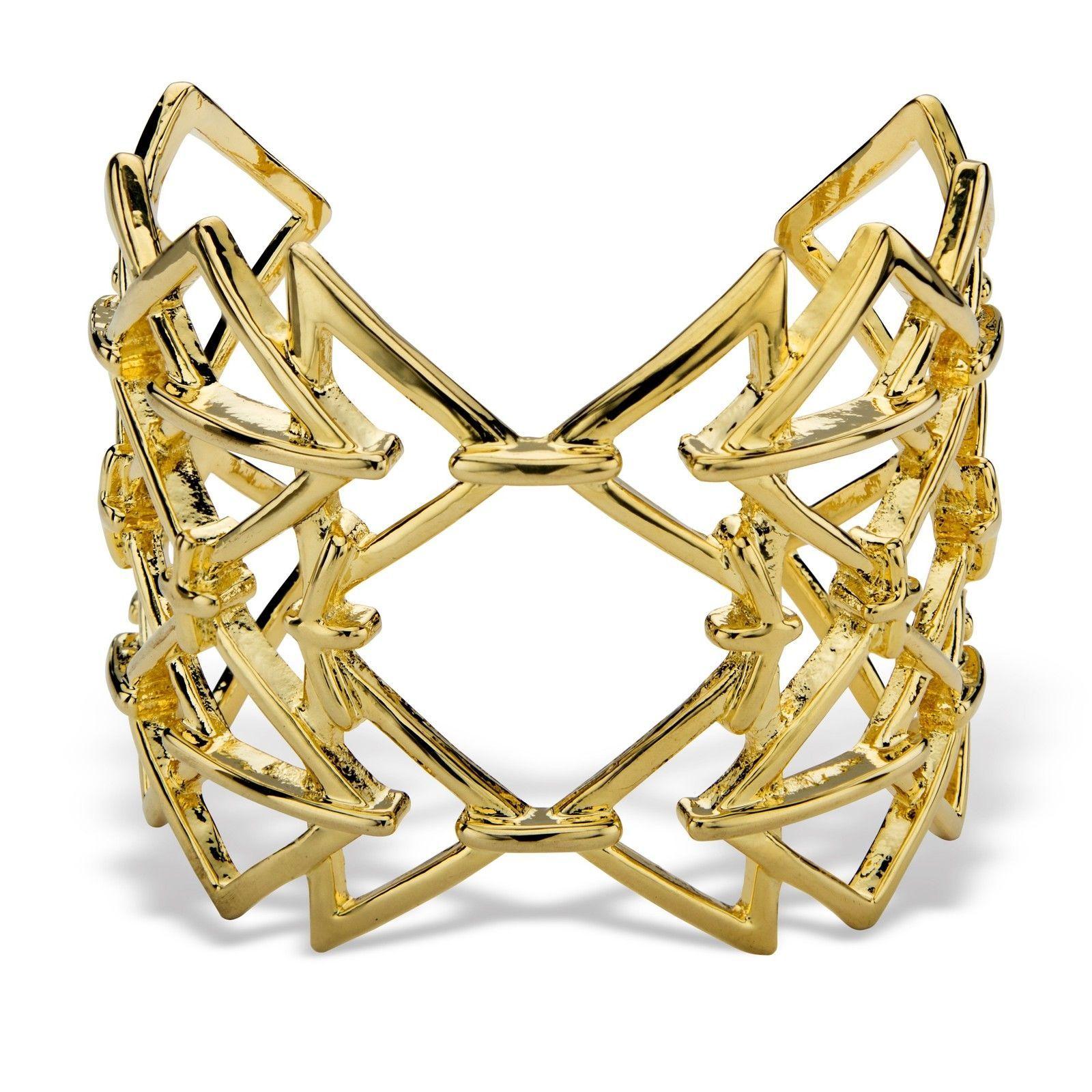 "PalmBeach Jewelry Open Triangle Link Gold Tone Geometric Cuff Bracelet 6"""