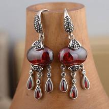925 Silver Tassel Earrings for Women Jewelry Red Cubic Zircon Stone S925... - $53.97