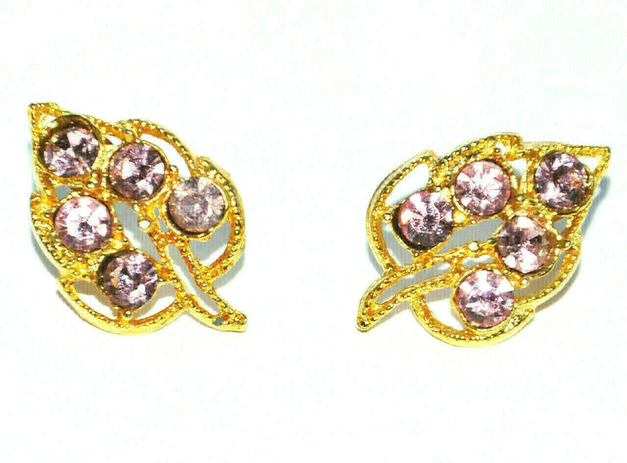 vintage leaf shaped pierced earrings leaves pink rhinestone gold filigree - $9.89