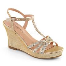 """PLEASER 3"""" Wedge Heel Champagne Gold Rhinestones Platform T-Strap Women ... - $47.95"""