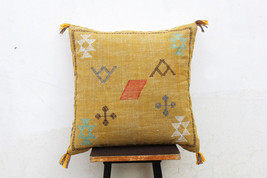 Mustard Color Cactus Silk Inspired Handmade Linen Pillow Cover Moroccan ... - £22.90 GBP