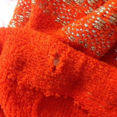 Vtg St John Knits Wiggle Groovy Hostess Sweater Dress Orange Gold Metallic M image 6