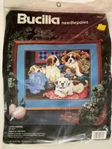 Bucilla 1991 Lotsa Puppies Needlepoint Kit 4653 Linda Gillum St Bernards NEW - $46.99