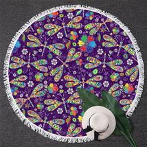 Dragonflies Over Purple Beach Towel - $12.32+