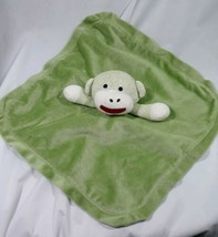 ** Magic Years Fleece/Satin Green sock monkey Rattle Baby Lovey Plush To... - $16.73
