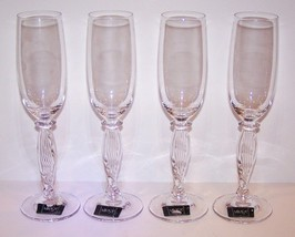 "STUNNING SET OF 4 MIKASA CRYSTAL ALESSANDRA 9 1/2"" CHAMPAGNE FLUTES WITH... - $64.34"