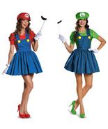 Womens Adult Super Mario AND Luigi Workmen Couples Fancy Dress Costumes ... - $30.00