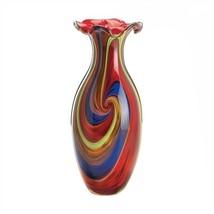 Swirls Of Colors Art Glass Decorative Vase - $79.12