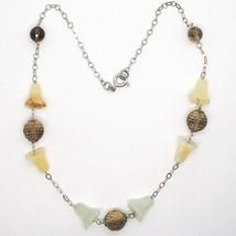 Silver 925 Necklace, Bluebell, Flowers, Bells, Jade, Prasiolite, Quartz image 2