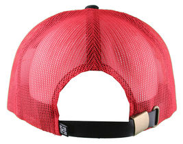 Kr3w Krew Black Red S'Kr3w You! FU Leather Strapback Trucker Baseball Hat NWT image 6