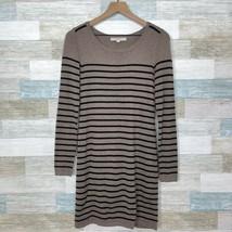 LOFT Engineered Striped Sweater Dress Brown Black Stretch Knit Casual W... - $9.89