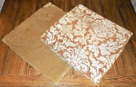 VTG Damask & Gold Jacquard Home Decor Accent Pillow Cover Set 2pc Lot 18... - $30.18