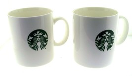 2015 Starbucks White & Green Mermaid Siren Logo Coffee Mug Set of 2 - $24.95