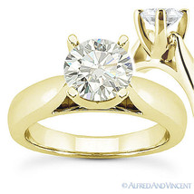 Round Cut Forever Brilliant Moissanite 14k Yellow Gold Solitaire Engagem... - £887.89 GBP+