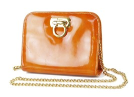 Auth SALVATORE FERRAGAMO Gancini Orange Patent Leather Chain Shoulder Ba... - $229.00