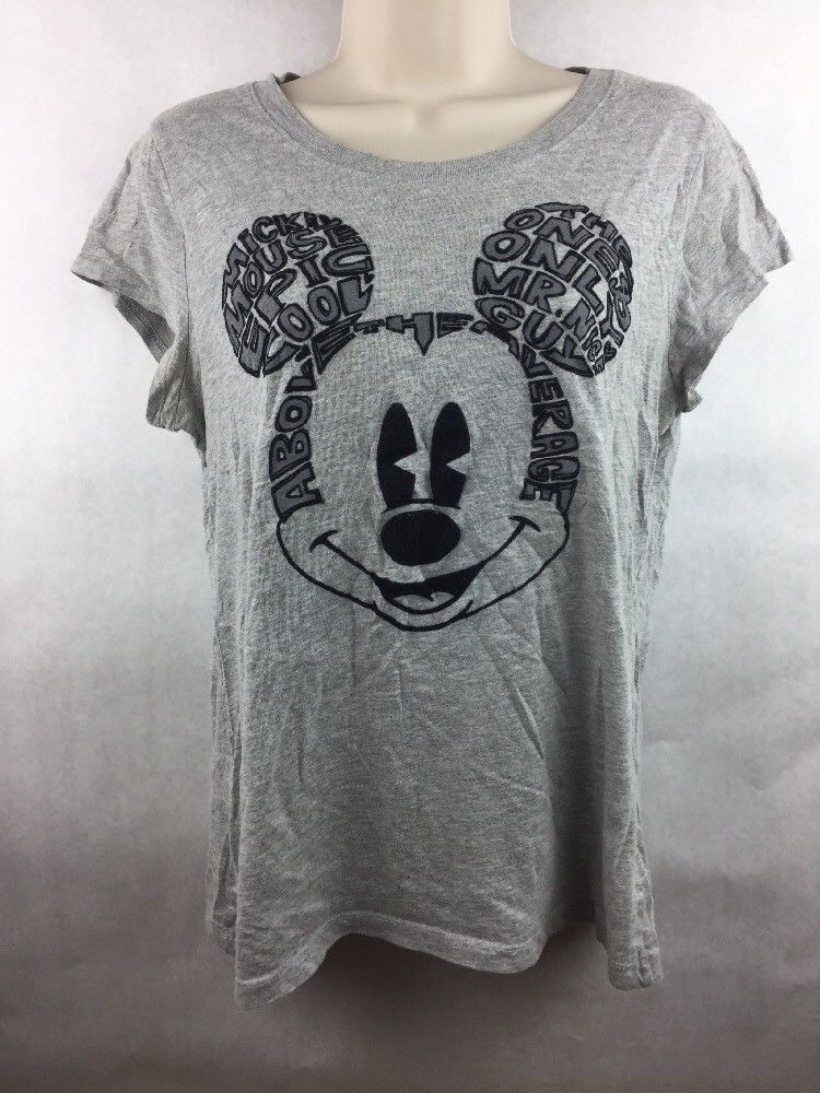 Primary image for Girl's Disney Mickey Mouse Word Art Gray Graphic T Shirt Junior Size XL 15/17