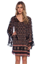 Nwt Free People Nomad Printed Floral Chiffon Black Combo Tunic Dress S - $94.99