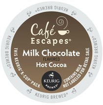Cafe Escapes Milk Chocolate, 48 count Kcups , FREE SHIPPING  - $38.99