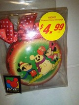 Vintage Enesco Mickey and Minnie Building a Snowman Christmas Ornament - $11.99
