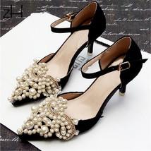 Pearl Wedding Bridal Tone Diamante Shoe Clips Crystal Rhinestone Appliqu... - $8.87