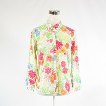 White green floral print 100% cotton IZOD 3/4 sleeve button down blouse S - $19.99