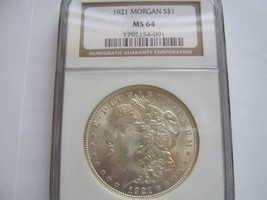 1921 , Morgan Silver Dollar , NGC , MS 64 - $85.00