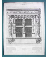 ARCHITECTURE PRINT 1869 - BAROQUE Ornamented Window Lions Heads - $13.46