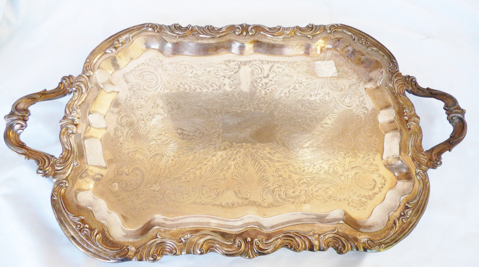 "Antique FB Rogers silverplate Footed Waiter Battler Tray 24"" Lady Margaret 6377"
