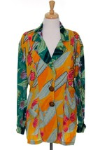 Vintage Wild Print M L/S Two Button LS Blazer Floral Sequins Palm Print ... - $14.71